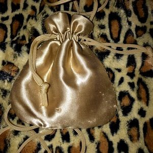 Handbags - Gold silky drawstring satchel mini size